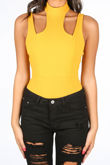Mustard Cut Out Ribbed Jersey Bodysuit