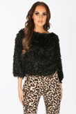 Feather Look Round Neck Top In Black