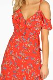 Cold Shoulder Midi Wrap Dress in Red Floral Print