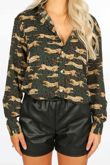 Green Cheetah Print Blouse