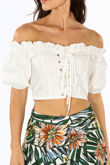 White Off The Shoulder Lace Up Crop Top