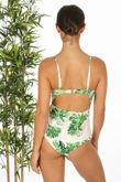 Leaf Print Tie Front Swimsuit