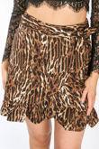 Leopard Print Tie Side Skirt