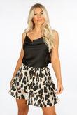 Leopard Print Frill Mini Skirt