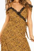 Mustard Leopard Print Wrap Dress With Lace Trim