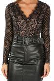 Long Sleeve Contrast Lace Bodysuit In Black