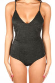 V Neck Lurex Bodysuit In Black