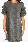 Silver Lurex Frill Sleeve T-Shirt Dress