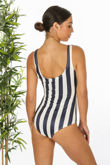 Navy Striped Tie Front Swimsuit