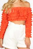 Orange Ruffle Long Sleeve Crop Top