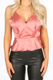 Strappy Satin Peplum Cami Top In Pink