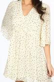 Cream Polka Dot Chiffon Smock Dress