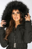 Belted Puffer Jacket With Faux Fur In Black