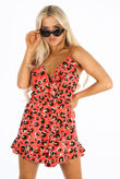 Red Leopard Print Frill Playsuit