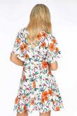 Short Sleeve Mini Wrap Dress in White Floral Print
