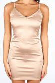Champagne Satin Mini Dress With Diamante Straps