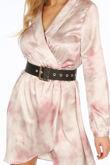 Pink Tie Dye Mini Wrap Dress