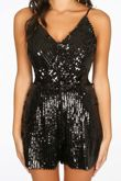 Striped Sequin Playsuit In Black