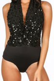Sequin Plunge Front Bodysuit In Black