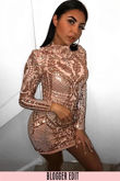 Luxe Long Sleeve Sequin Mini Dress Pink