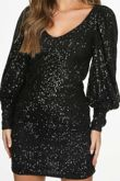 Black Long Sleeve Sequin Dress With Cuff