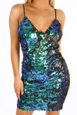 Sequin Strappy Bodycon Dress In Green
