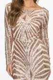 Rose Gold Long Sleeve Sequin Embellished Maxi Dress