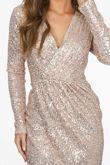 Rose Gold Long Sleeve Sequin Cross Over Dress