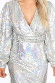 Silver Puff Sleeve V-Neck Sequin Mini Dress