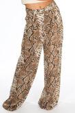 Snake Print Chiffon Wide Leg Trouser