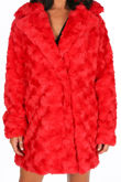 Soft Faux Fur Teddy Coat In Red