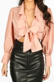 Pink Tie Front Cropped Shirt