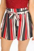 Striped Paper Bag Shorts In Red