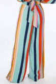 Striped Print Wide Leg Trouser In Blue