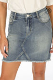 Washed Denim Mini Skirt