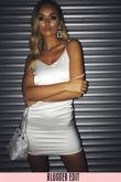 White Satin Mini Dress With Diamante Straps