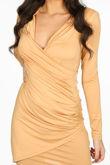 Taupe Plunge Wrap Mini Bodycon Dress