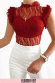 Burgundy High Neck Lace Bodysuit