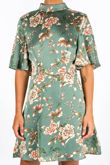 Floral Print Satin Tea Dress In Green