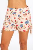 Ruched Side Floral Print Shorts In Pink