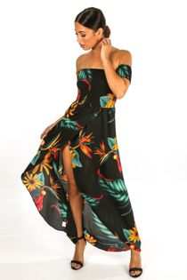 Black Tropical Print Shirred Bardot Midi Dress