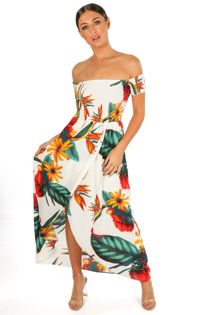 White Tropical Print Shirred Bardot Midi Dress