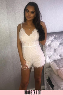 Contrast Lace Playsuit In White