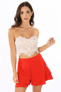 Layered Frill Shorts In Red