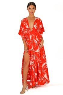 Red Kimono Sleeve Printed Maxi Dress