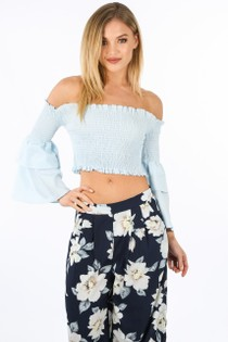 a/039/8089-_Blue_Shirred_Bardot_Crop_Top_With_Bell_Sleeves-2__74254.jpg