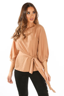 Long Sleeve Belted Blouse In Camel