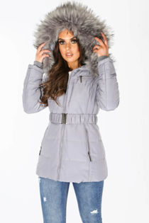 Belted Puffer Jacket With Faux Fur In Grey