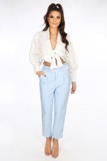 Light Blue Belted Tailored Trouser