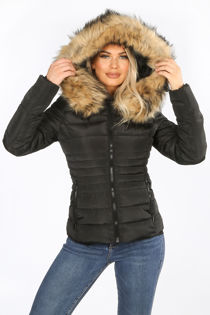 Black Fitted Puffer Jacket With Natural Faux Fur